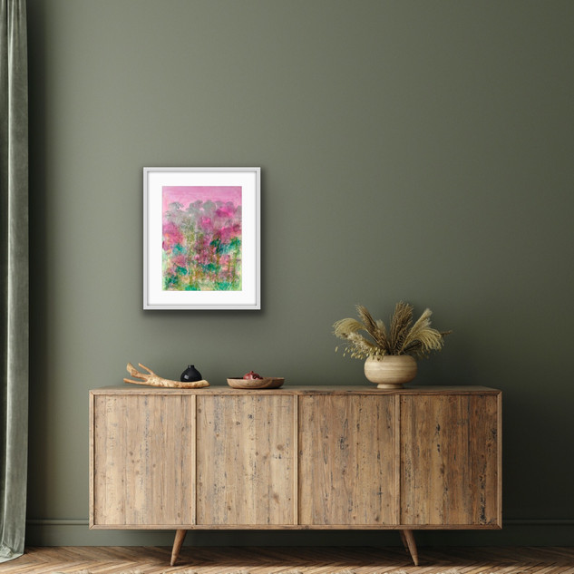 Fields of Glory II £145 A2 Original Painting Framed. Oil & Dye on Paper