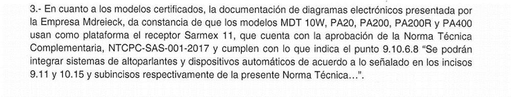 Fragmento de la respuesta a la solicitud 0107500047320 sobre equipos certificados de Mdreieck S.A. de C.V.