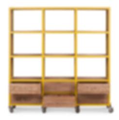 Wooden rack shelf on wheels. Modern desi