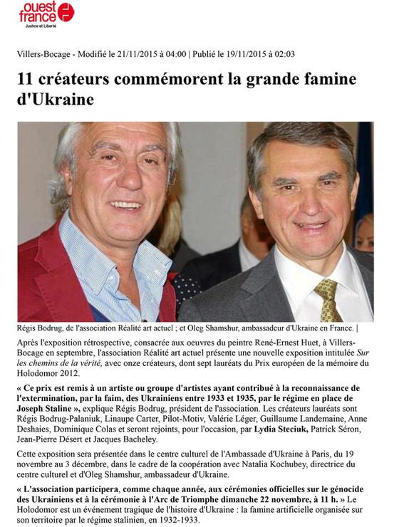 Article Holodomor Ouest France nov 2015.
