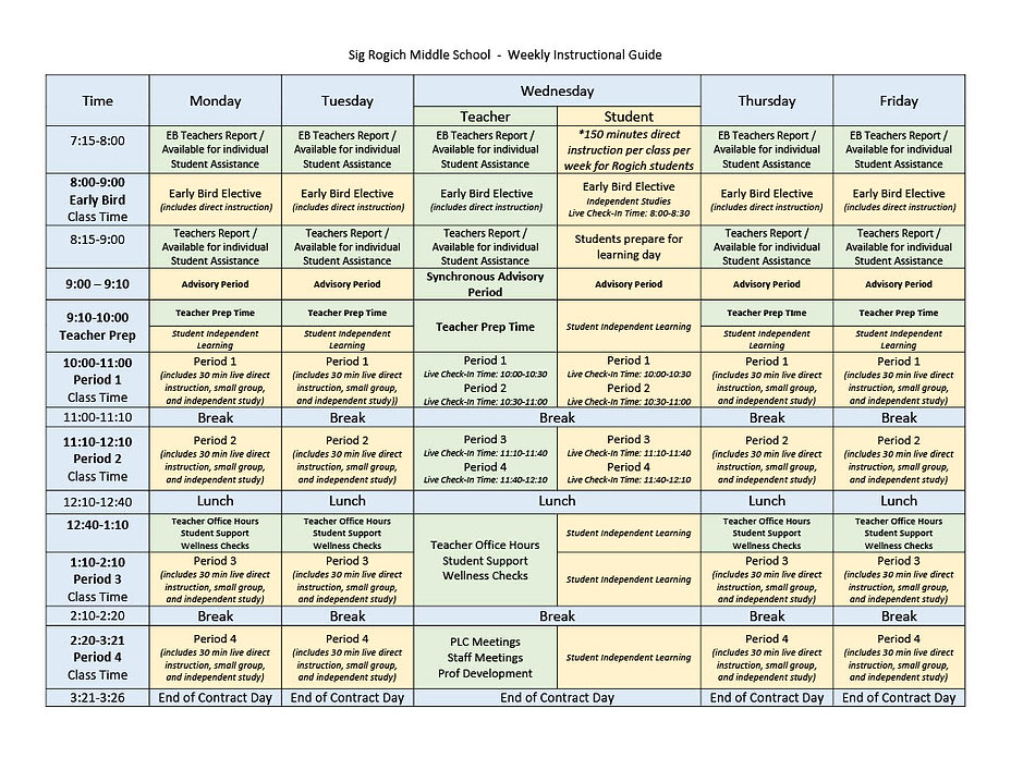 Final Version Weekly Instructional Sched