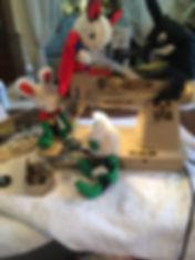 bunnies and vintage sewing machine
