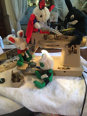 bunnies and vintage sewing machine