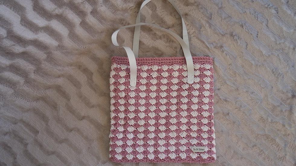 Pembe Mozaik Kağıt ip Çanta