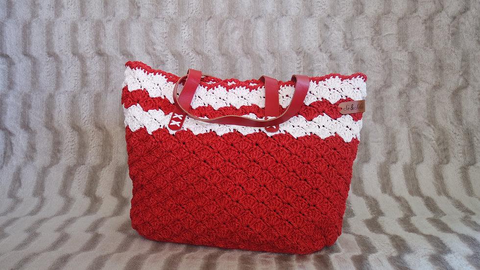 Kırmızı - Beyaz Kağıt İp Çanta (Büyük boy)