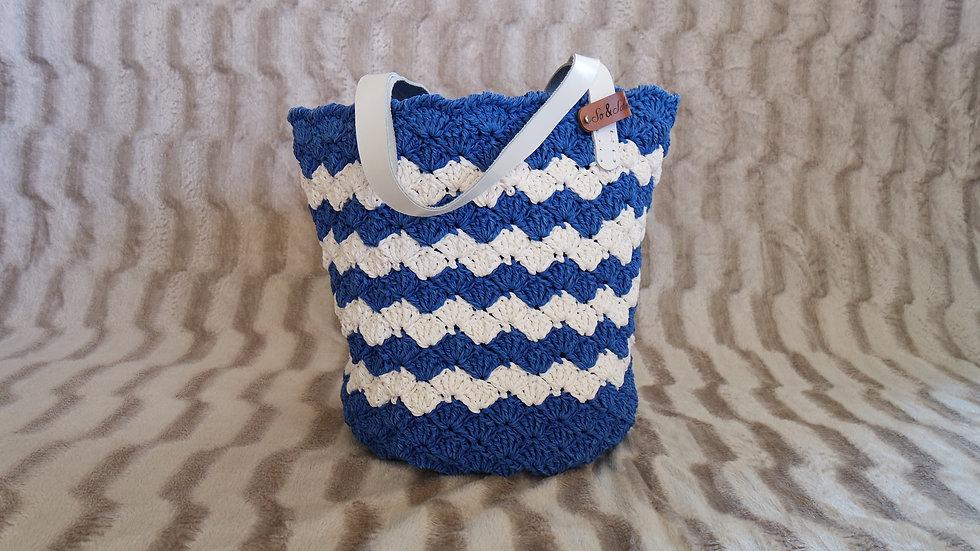 Mavi Beyaz Kağıt İp Çanta (Orta boy)