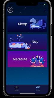 Earable app three use modes: sleep, nap, meditation