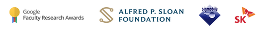 Awards: Google Research Awards, Alfred P. Sloan Foundation, Signmobile, SK