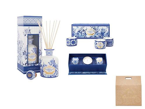 CASTELBEL / Gold & Blue Diffuser  250ml and Tea-Light  Candles