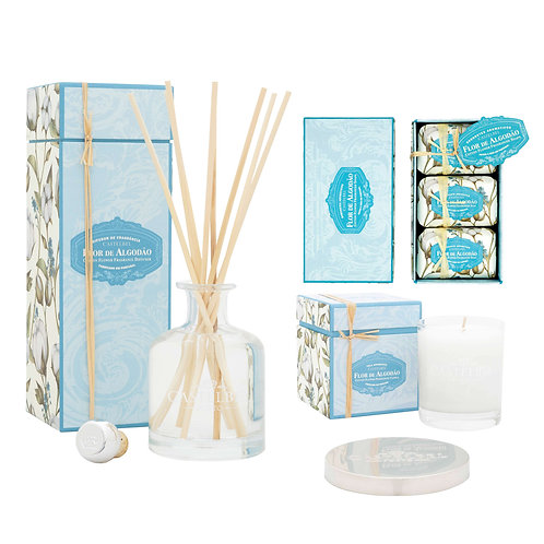 CASTELBEL / Cotton Flower Diffuser, Candle and Soap Set  150g x 3