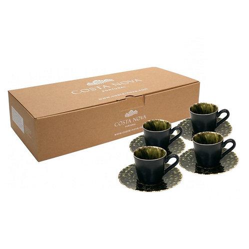 COSTA NOVA / RIVIERA - Coffee Cups & Saucers x 4 (Forest)