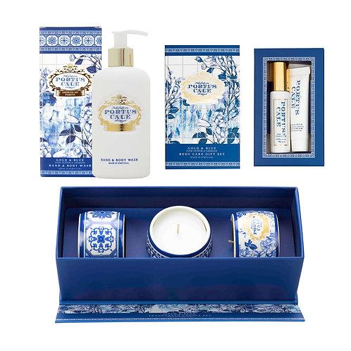 CASTELBEL / Gold & Blue Mini Bodycare Set, Hand & Body Wash, Candles