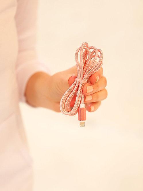 Cargador de cable trenzado para iPhone - Rosa