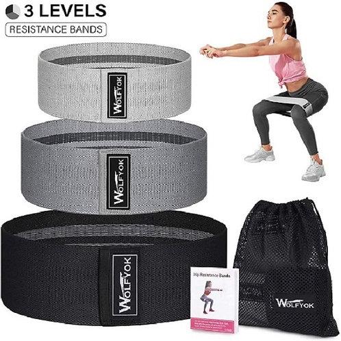 Bandas de resistencia para piernas y trasero, 3 unidades, Wolfyok antideslizante