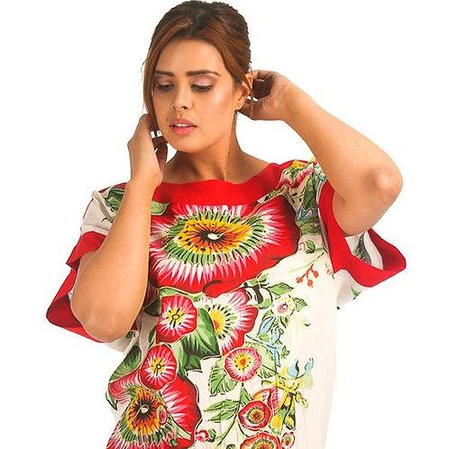 Blusa Casual con Detalle de Print Floral y Elástico en Parte Baja del Ruedo