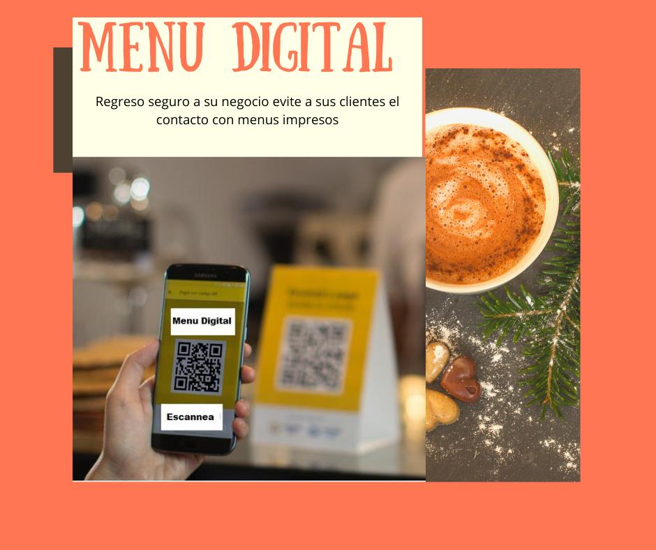 Menu Digital regreso seguro ante el COVID-19 evite que sus clientes tengan contacto con los menus impresos.