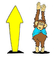 A yellow arrow pointing upwards. Next to this is a cartoon chimpanzee standing on tiptoe, arms in the air, trying to be as tall as possible