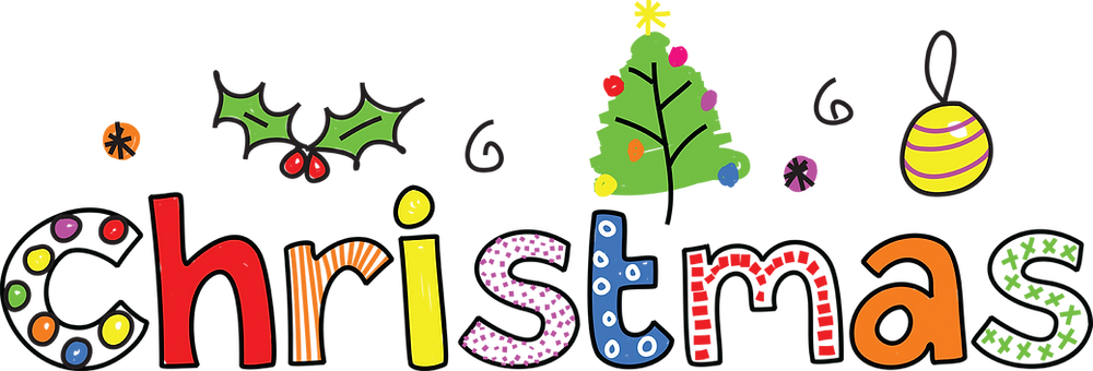 Cartoon colourful letters that spell 'Christmas', with basic doodles of holly, a bauble and a Christmas tree above.