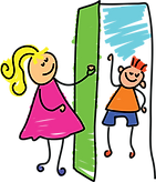 colourful stick drawing of a girl answering the door to greet a friend.