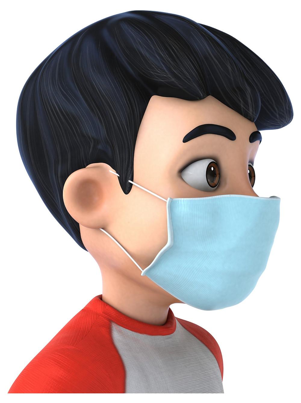 3d cartoon of a boy wearing a face mask.