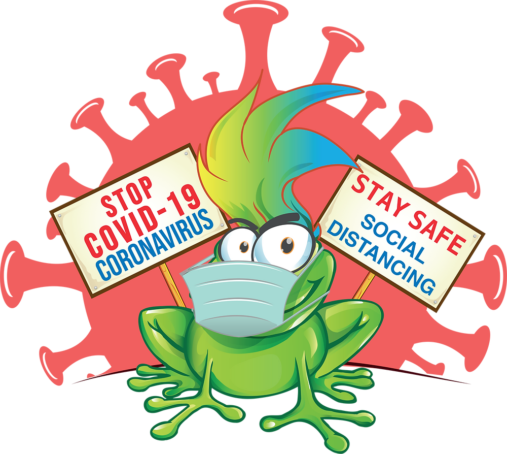 "Weird frog like green creature  sitting in front of a cartoon virus. Two banner signs reading ""Stop Covid 19 Coronavirus"" and ""Stay safe social distancing""."