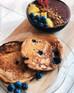 Vegan Blueberry Oatmeal Protein Pancakes