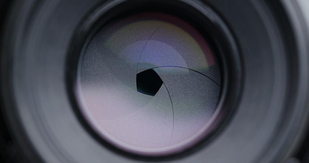Aperture blades inside a lens set to a small aperture..