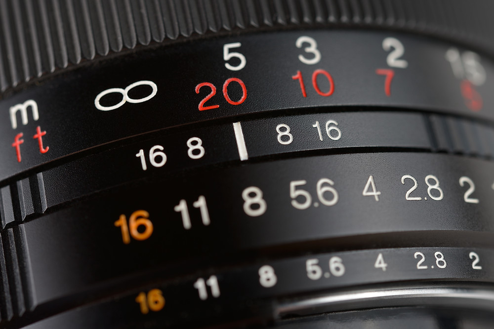 The focus rings on a lens that show focus and aperture settings.