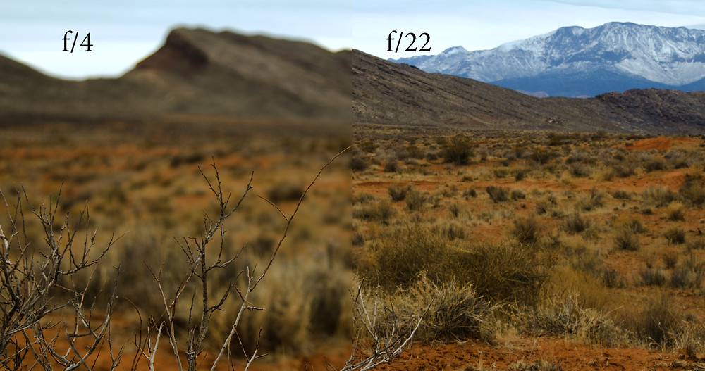 An image of Southern Utah, split in half to show the difference in depth of field between f/4 and f/22.