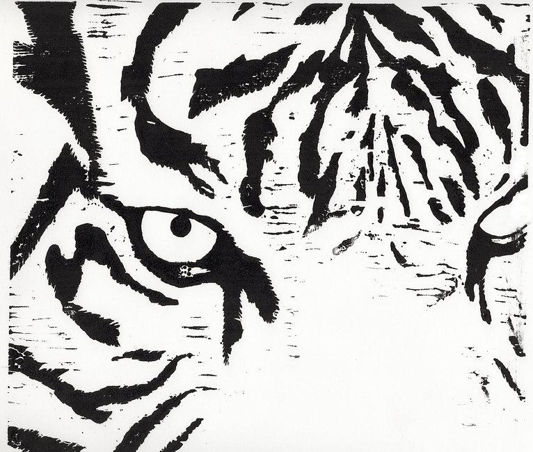 Prey, woodcut print by Jennifer Swartwood-Walker