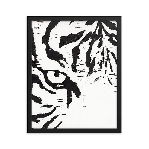 Framed Tiger Woodcut Print Reproduction