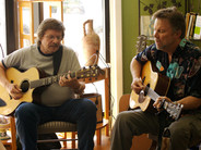 Gary Grubb accompanies Chris Samson at the Ordinary Miracles Songs of Sonoma singer-songwriter series in Cotati, Calif., 2007.