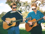 Chris and Rich Samson play at a family reunion in Templeton, Calif., 1986.