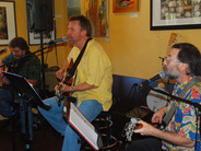 Chris Samson performs at a CD release party on June 2008 at Aqus Café in Petaluma, Calif. He is accompanied by Gary Grubb and Steve Della Maggiora.