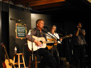 Chris Samson is accompanied by Maury Manseau and Colin Campbell at Clear Heart Gallery in Petaluma, September 2014.