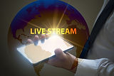 business hand pressing  interface and select LIVE STREAM button ,.jpg
