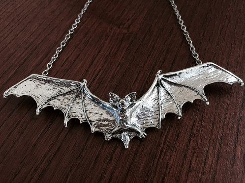 Large silver bat necklace healing crystals greater london large silver bat necklace healing crystals greater london mammamoon aloadofball Image collections