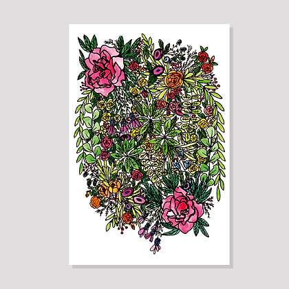 Floral Peony Postcard