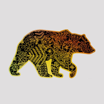 Botanical Bear Holographic VINYL sticker