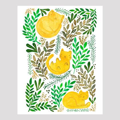 Garden Cats 11x14 Print