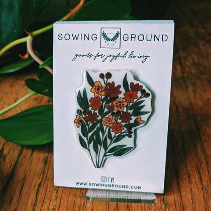 Flower Bouquet Resin Lapel Pin