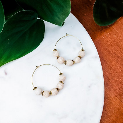 Beaded Hoops   Ivory & Gold