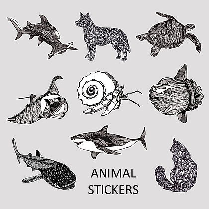 Pack of 6 REGULAR Stickers (Options: Animal | Plant | Mix)