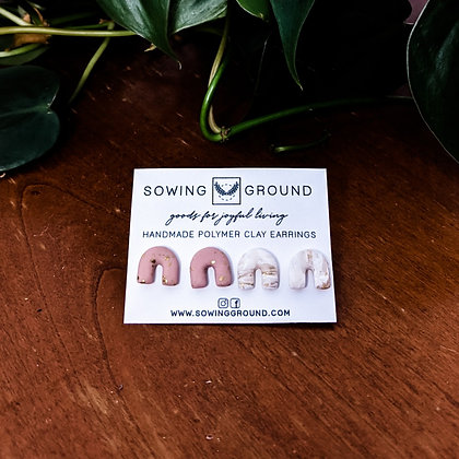 Rainbow Stud   2-Pack (Pink & Ivory Gold)