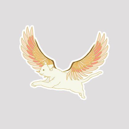 Flying Cat VINYL Sticker