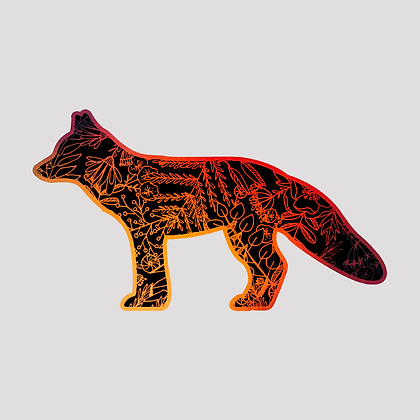Botanical Fox Holographic VINYL sticker