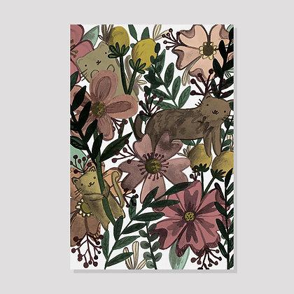 Inky Garden Cats Postcard