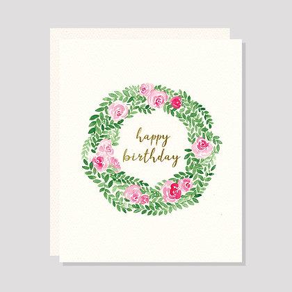 Rose Wreath Happy Birthday