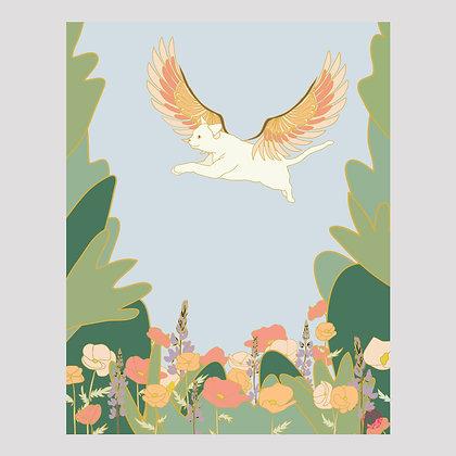 Flying Dream Cat 11x14 Print
