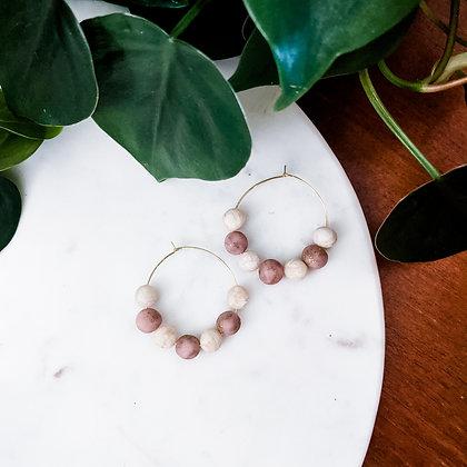 Beaded Hoops | Pink & Ivory
